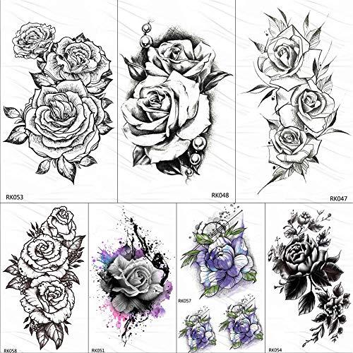 too-Aufkleber Rose Blume Blatt Temporäre Tätowierungen Aufkleber Schwarz Kamelie Custom Tattoo Pearl Art Arm Gefälschte Tatoos Schwarze Frauen Mädchen ()
