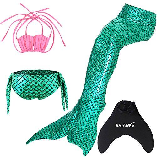 Saianke Mädchen-Bademoden-Set, mit funkelnder Meerjungfrauen-Flosse / Monoflosse Gr. X-Large, Green with pink top