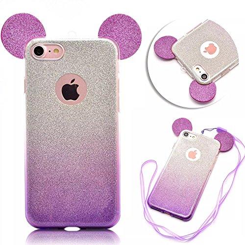 we3dcell (Maus Ohren Fall) mit Aufhängen Seil Cute Lovely 3D Cartoon Animal Design Soft Silikon Back Case Cover für iPhone 6Plus/6S Plus (lila) (Iphone 6 Soft Case Cartoon)