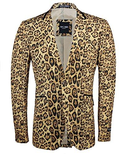 Rosace Or profond pour homme Imprimé léopard italien Ensemble veste Blazer ajusté - Deep Gold