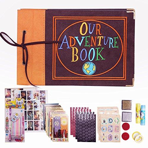 GRT Our Adventure Book das Neue aktualisierte Stickerei-Version von Hard Cover Wildleder Scrapbook von Pixar up Handmade Retro-Stil DIY Alben für Geburtstage Hochzeiten Touren Kostenloses Zubehör
