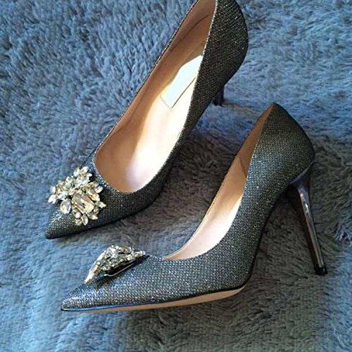 WSS chaussures à talon haut Chaussures à talons pointus en cuir Satin soie strass asakuchi chaussures chaussures femme 1