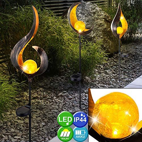 3er Set Design LED Solar Leuchten Außen Beleuchtung Dekoration Steck Lampen Flamme Design