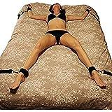 Namee constrictiva por cama, con las esposas acolchadas desmontables BDSM Bondage Kit (Negro)