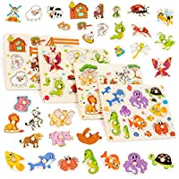 The Twiddlers Set of 4 Brightly Coloured Wooden Puzzles - Farm, Ocean, Insects and Jungle Animals - Perfect Toys for Preschool kids - Aids Early Education & Intellectual Development