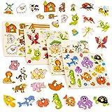 Set di 4 puzzle in legno dai colori vivaci - Granja, insectos y animales de la selva - Perfetto per i bambini in età prescolare. Aiuta la prima educazione e lo sviluppo intellettuale