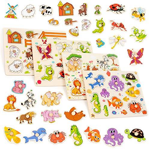 Set di 4 Puzzle in Legno dai colori vivaci - Perfetto per...