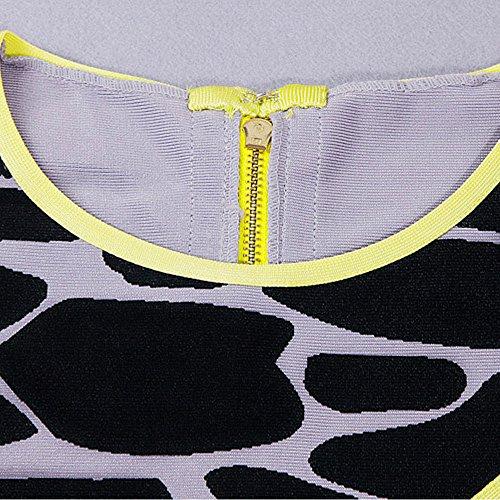 HL Bandage 2 Piece à manches courtes imprimé léopard Robe gainante Gris imprimé léopard