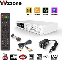 Wezone DVB-S2 Set Top Box Satellite TV Receiver 1080 HD Support PVR and Playback Via USB, Internet, SIM GPRS