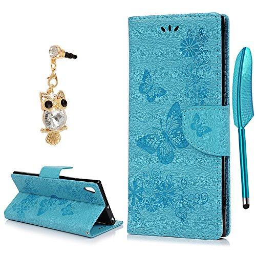 Sony Xperia XA1Ultra Case, yokirin Premium Folio Leder Wallet Fall Butterfly Flower Design mit Ständer Karte Slots Magnetverschluss Handschlaufe Flip Notebook Schutzhülle für Sony Xperia XA1Ultra (Slim-layer-karte)