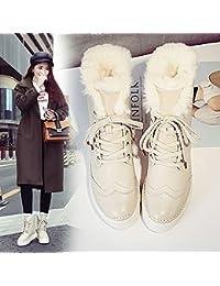Botas de Nieve para Mujer Botas de Mujer Gruesa Salvaje en Los Zapatos de Algodón Medio Botas de Nieve Más Botas...