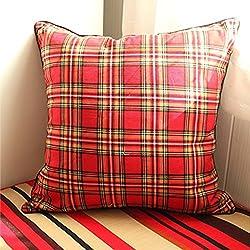 CUSHIONLIU Base de oficina de la almohadilla de tela escocesa de algodón Cojines Inicio clásico Joker de las almohadas de fundas de almohada , 55X55cm (incluyendo base), escocés rojo