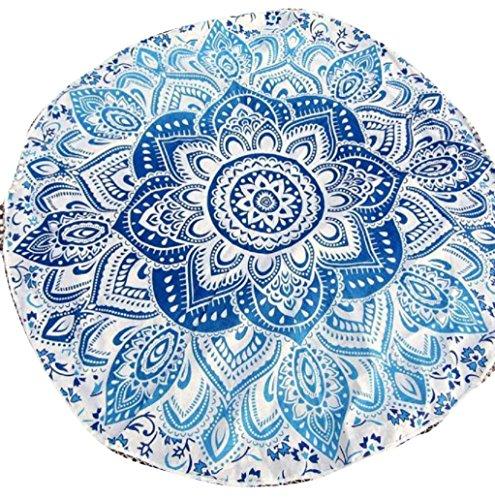 BakeLIN Strandtuch Sommer Mandala Runde Strandtücher Yoga Matte Wandbehang Decor Strandhandtuch 150cm (150cm, Blau)
