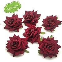 Satyam Kraft Artificial flower For Wedding Box, Hat Decoration,DIY Artificial Garland Supplies (Red Rose 6 Pcs)