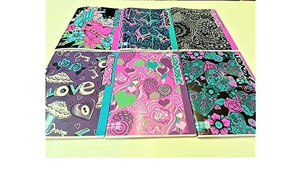 SEVEN GIRL 5 Maxi A4 quaderni quadretti 5mm 501001812//5MM quadretti senza margini elementari medie superiori carta 80gr 5 quadernoni fantasia 21x29,7cm copertina 250gr