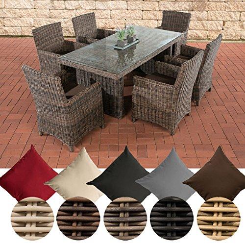 CLP Poly-Rattan Sitzgruppe FONTANA (6 Stühle + Tisch 180 x 90 cm), 5 mm RUND-Geflecht Bezug: Terrabraun, Rattan Farbe braun-meliert