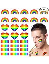 Vamei 24pcs Autocollants de Rainbow Gay Pride Tatouage temporaire Body Paint 3 formes de tatouage pour les célébrations Gay Pride (A)