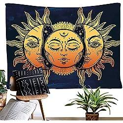 Tapiz de luna y sol para pared, psicodélico