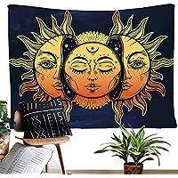 dremisland tapiz luna y sol pared psicodélico colgar tapices indio Mandala Bohemian Hippie Hippy manta de playa para dormitorio sala de estar Decor, Pattern 1, L/200x148cm(79x58inch)