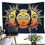 Dremisland Wandteppich Mond und Sonne Wandbehang Mandala Tuch Wandtuch Tapestry Indisch Orientalisch Psychedelic (Muster 1, L/200x148cm(79x58inch))