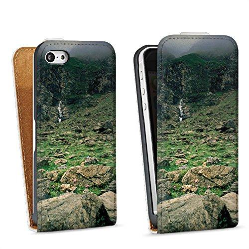 Apple iPhone 4 Housse Étui Silicone Coque Protection Chute d'eau Montagne Rochers Sac Downflip blanc