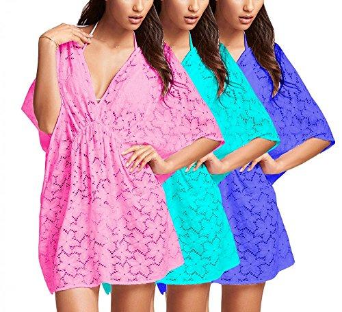 Damen Longshirt Blumen Spitze Tunika Strandkleid C-String Sommer Bikini S/M Blau