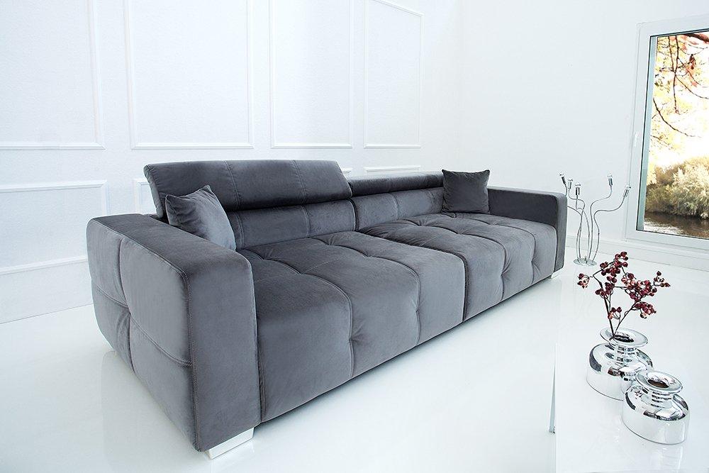 Invicta Interior Elegantes Big Sofa Heritage 9cm grau inkl. Kissen  verstellbare Kopfstütze Couch Wohnzimmer