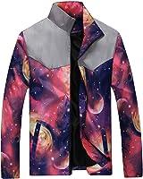 PengGeng Mens Starry Sky Leisure Lightweight Jacket Slim Fit Stand Collar Coats