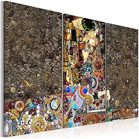 Cuadro 120x80 cm - 3 3 tres colores a elegir - Impresion en calidad fotografica - TOP - lienzo tejido-no tejido - 3 Partes - Cuadro en lienzo tejido-no tejido – Gustav Klimt Beso Abstraccíon Texture l-C-0001-b-f 120x80 cm B&D