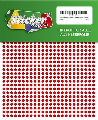 WP Klebepunkte 05 mm - Juego de 1440 puntos adhesivos (5 mm), color rojo, de PVC, impermeables