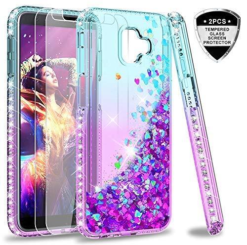LeYi Hülle Galaxy J6 Plus Glitzer Handyhülle mit Panzerglas Schutzfolie(2 Stück),Cover Diamond Bumper Schutzhülle für Case Samsung J6 Plus / J6+ / J6 Premium Handy Hüllen ZX Gradient Turquoise Purple