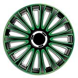 4er Set Radkappen Radzierblenden Radabdeckungen Modell LmPro Grün & Schwarz 14 Zoll