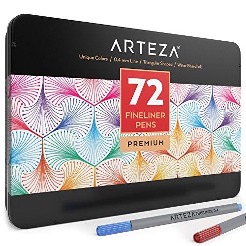 Arteza Fineliner Pens 72-Assorted-Colors 0.4mm Tips