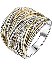Moneekar Jewels 2 Tone Intertwined Crossover Statement Ring For Women Gold And Silver Plated 18mm Wide Rings For...