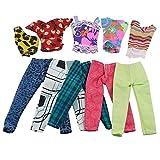 Ropa Y Accesorios Best Deals - 5 Conjuntos Hechos a Mano Suave Confortable Lavable Ropa Casual camiseta Blusa con Pantalones para Muñecas Barbie