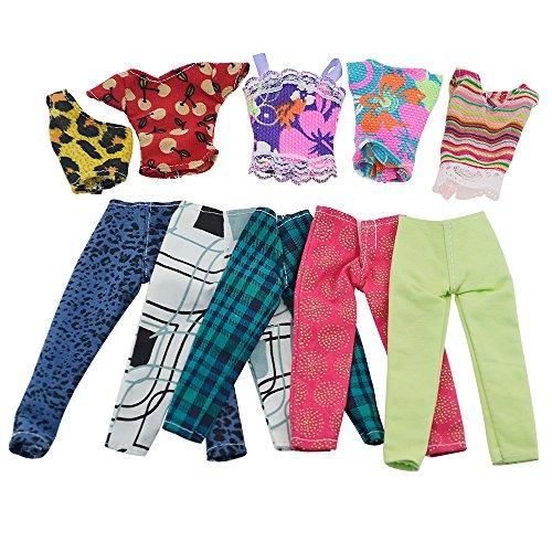 Preisvergleich Produktbild ASIV Mode waschbar Handgemachte 5 x T-Shirt Bluse, 5 Paar Hosen Casual Kleidung für Barbie Puppen, zufälliger Stil