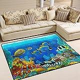 coosun Unterwasserwelt Fische Tiere, Teppich Teppich rutschfeste Fußmatte Fußmatten für Wohnzimmer Schlafzimmer 203,2x 147,3cm, Textil, multi, 80 x 58 inch