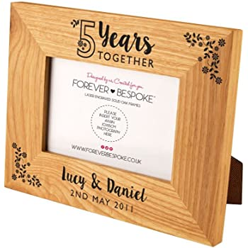 Personalised Engraved 5 Years Together Oak Photo Frame, 5th Wooden ...