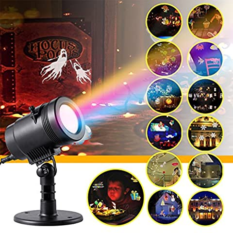 Projector Light LED Spotlight Waterproof Landscape Lighting Lamp with 14 Replaceable Slides for Christmas, Birthday, Halloween, Party, Wedding, Garden