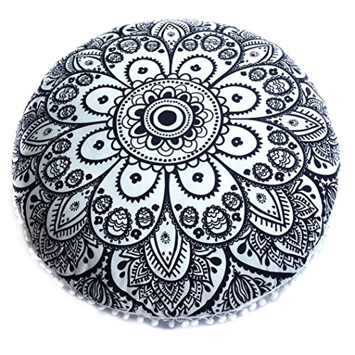 Leey Grande cuscino Mandala Floor cuscini rotondi Bohemian Meditazione copertina Ottomana Soggiorno, Camera da Letto Sgabello Zafu Life (Nero)