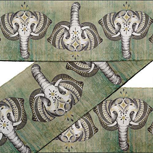 rt Grun Stammes- Elefant Gesicht Tier Stoff Spitze Schneiderei Samtband gedruckt Nähen Spitze 9 Yard 4 Zoll ()
