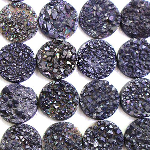 3pcs Natural Color Plated Gemstone Druzy Agate Coin 16mm Cabochons for Jewelry Making Beads Cabs (16 Mm Coin)
