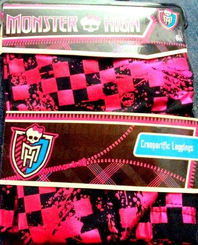 Draculaura Monster High Creeperific Leggings Pink & Black Size 8-10 Metallic Hot Pink