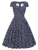 50s vintage retro audrey hepburn kleid polka dots kleid sommerkleid damen knielang LBP008-6