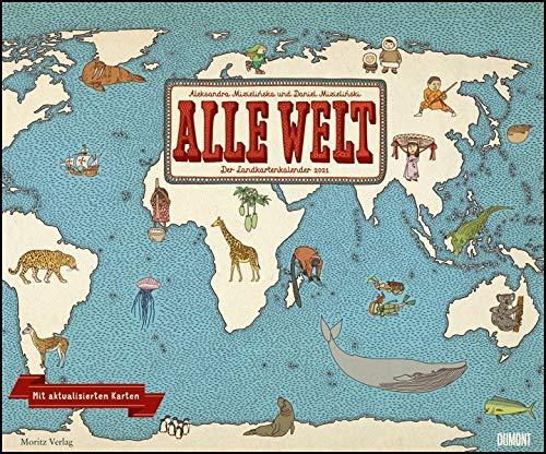 Alle Welt 2021 - Landkarten-Kalender von DUMONT- Kinder-Kalender - Querformat 58,4 x 48,5 cm