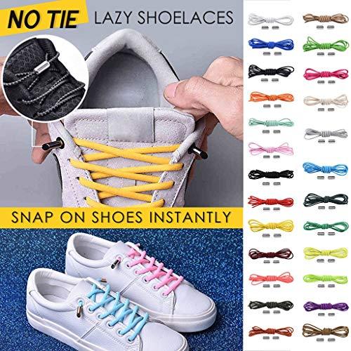 No Tie Shoelaces Rundsenkel für Erwachsene,Binggong Elastische Silikon Schnürsenkel flach Schleifenlose Schuhbänder ohne Binden für Sneaker Stiefel Brettschuhe und Freizeitschuhe (Komfort Stiefel)