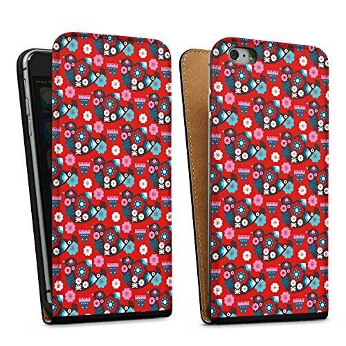 Apple iPhone 6 Housse Étui Silicone Coque Protection Oiseau Fleurs Fleurs Sac Downflip noir