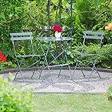 Relaxdays Bistrotisch mit 2 Stühlen, Klappbar, Rund 60x60 cm, Metall, Outdoor, Garten Bistroset 3 Teilig, Wetterfest, Grau