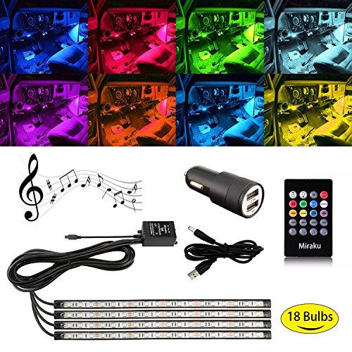 LED Auto Innen Streifen Beleuchtung, farbigen Blinklicht mit Sound Active Funktion und Wireless Fernbedienung, 4x 18LEDs, 5V, kompatibel für alle USB-Port, Atmosphäre Dekoration Motorrad LED-Lichtleiste–miraku