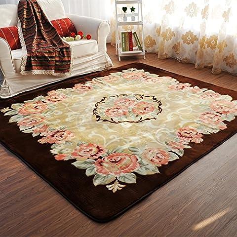 Estilo europeo MeMoreCool rosas alfombra alfombra de área de decoración para el hogar sofá lado alfombra bebé gatear Mat alfombra (grande para el hogar salón/dormitorio/piso/cocina, tela, Rosa, 150cm by 200cm